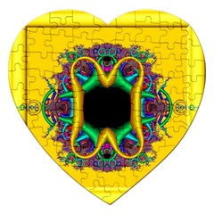 Fractal Rings In 3d Glass Frame Jigsaw Puzzle (heart) by Simbadda