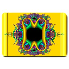 Fractal Rings In 3d Glass Frame Large Doormat  by Simbadda