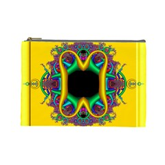 Fractal Rings In 3d Glass Frame Cosmetic Bag (large)  by Simbadda