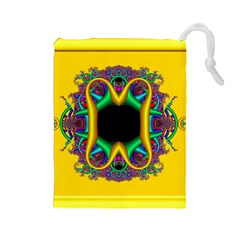 Fractal Rings In 3d Glass Frame Drawstring Pouches (large)  by Simbadda