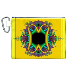 Fractal Rings In 3d Glass Frame Canvas Cosmetic Bag (xl) by Simbadda