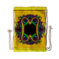 Fractal Rings In 3d Glass Frame Drawstring Bag (small) by Simbadda