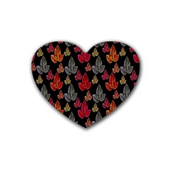 Leaves Pattern Background Rubber Coaster (heart)  by Simbadda