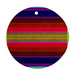 Fiestal Stripe Bright Colorful Neon Stripes Background Ornament (round) by Simbadda