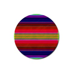Fiestal Stripe Bright Colorful Neon Stripes Background Rubber Coaster (round)  by Simbadda