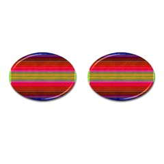 Fiestal Stripe Bright Colorful Neon Stripes Background Cufflinks (oval) by Simbadda