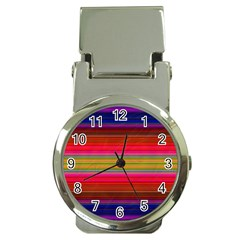 Fiestal Stripe Bright Colorful Neon Stripes Background Money Clip Watches by Simbadda