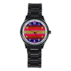 Fiestal Stripe Bright Colorful Neon Stripes Background Stainless Steel Round Watch by Simbadda