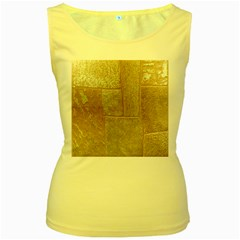 Texture Of Ceramic Tile Women s Yellow Tank Top by Simbadda