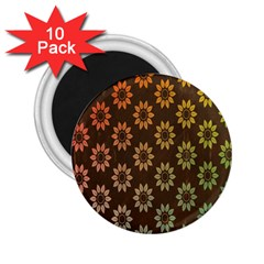 Grunge Brown Flower Background Pattern 2 25  Magnets (10 Pack)  by Simbadda