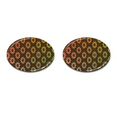 Grunge Brown Flower Background Pattern Cufflinks (oval) by Simbadda