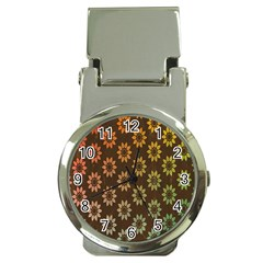 Grunge Brown Flower Background Pattern Money Clip Watches by Simbadda