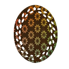 Grunge Brown Flower Background Pattern Oval Filigree Ornament (two Sides) by Simbadda