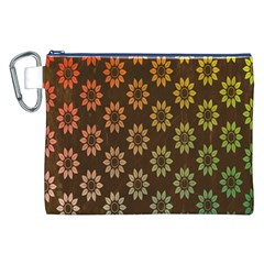 Grunge Brown Flower Background Pattern Canvas Cosmetic Bag (xxl) by Simbadda