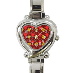 Digitally Created Seamless Love Heart Pattern Tile Heart Italian Charm Watch by Simbadda