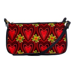 Digitally Created Seamless Love Heart Pattern Tile Shoulder Clutch Bags by Simbadda
