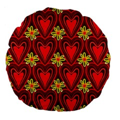 Digitally Created Seamless Love Heart Pattern Tile Large 18  Premium Flano Round Cushions by Simbadda