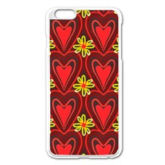 Digitally Created Seamless Love Heart Pattern Tile Apple Iphone 6 Plus/6s Plus Enamel White Case by Simbadda