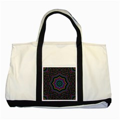 Cyan Yellow Magenta Kaleidoscope Two Tone Tote Bag by Simbadda
