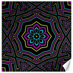 Cyan Yellow Magenta Kaleidoscope Canvas 16  x 16   by Simbadda