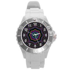 Cyan Yellow Magenta Kaleidoscope Round Plastic Sport Watch (l) by Simbadda