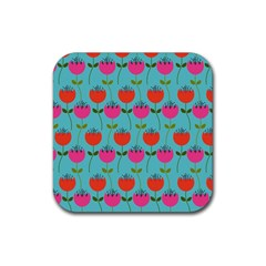 Tulips Floral Background Pattern Rubber Square Coaster (4 Pack)  by Simbadda