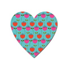 Tulips Floral Background Pattern Heart Magnet by Simbadda