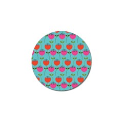 Tulips Floral Background Pattern Golf Ball Marker (4 Pack) by Simbadda