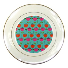 Tulips Floral Background Pattern Porcelain Plates by Simbadda
