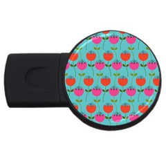 Tulips Floral Background Pattern USB Flash Drive Round (4 GB) by Simbadda