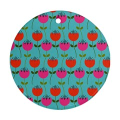 Tulips Floral Background Pattern Round Ornament (two Sides) by Simbadda