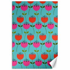 Tulips Floral Background Pattern Canvas 20  X 30   by Simbadda
