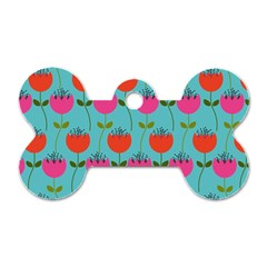 Tulips Floral Background Pattern Dog Tag Bone (two Sides) by Simbadda