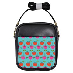 Tulips Floral Background Pattern Girls Sling Bags by Simbadda