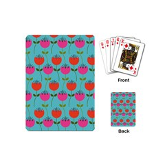 Tulips Floral Background Pattern Playing Cards (mini)  by Simbadda