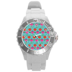 Tulips Floral Background Pattern Round Plastic Sport Watch (l) by Simbadda