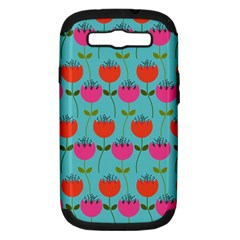 Tulips Floral Background Pattern Samsung Galaxy S Iii Hardshell Case (pc+silicone) by Simbadda