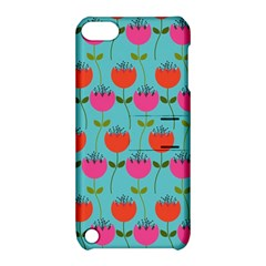Tulips Floral Background Pattern Apple Ipod Touch 5 Hardshell Case With Stand by Simbadda