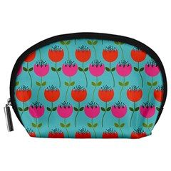 Tulips Floral Background Pattern Accessory Pouches (Large)