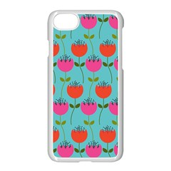 Tulips Floral Background Pattern Apple Iphone 7 Seamless Case (white) by Simbadda