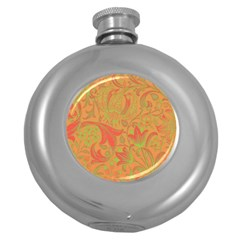 Floral Pattern Round Hip Flask (5 Oz) by Valentinaart