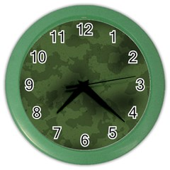 Vintage Camouflage Military Swatch Old Army Background Color Wall Clocks by Simbadda
