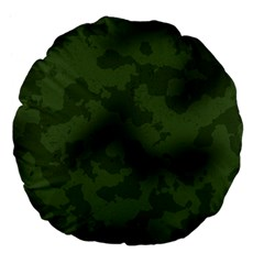 Vintage Camouflage Military Swatch Old Army Background Large 18  Premium Flano Round Cushions by Simbadda