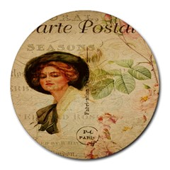 Lady On Vintage Postcard Vintage Floral French Postcard With Face Of Glamorous Woman Illustration Round Mousepads by Simbadda