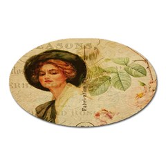 Lady On Vintage Postcard Vintage Floral French Postcard With Face Of Glamorous Woman Illustration Oval Magnet by Simbadda