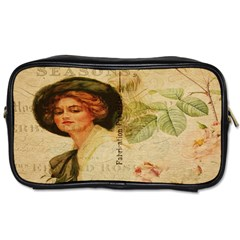 Lady On Vintage Postcard Vintage Floral French Postcard With Face Of Glamorous Woman Illustration Toiletries Bags by Simbadda