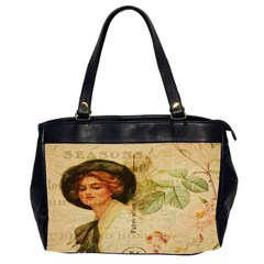 Lady On Vintage Postcard Vintage Floral French Postcard With Face Of Glamorous Woman Illustration Office Handbags (2 Sides)  by Simbadda