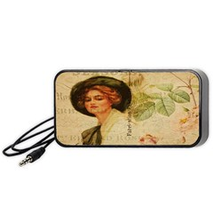 Lady On Vintage Postcard Vintage Floral French Postcard With Face Of Glamorous Woman Illustration Portable Speaker (black) by Simbadda