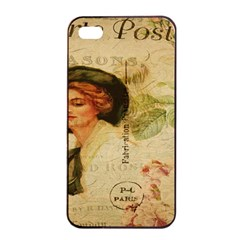 Lady On Vintage Postcard Vintage Floral French Postcard With Face Of Glamorous Woman Illustration Apple Iphone 4/4s Seamless Case (black) by Simbadda