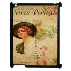 Lady On Vintage Postcard Vintage Floral French Postcard With Face Of Glamorous Woman Illustration Apple Ipad 2 Case (black) by Simbadda